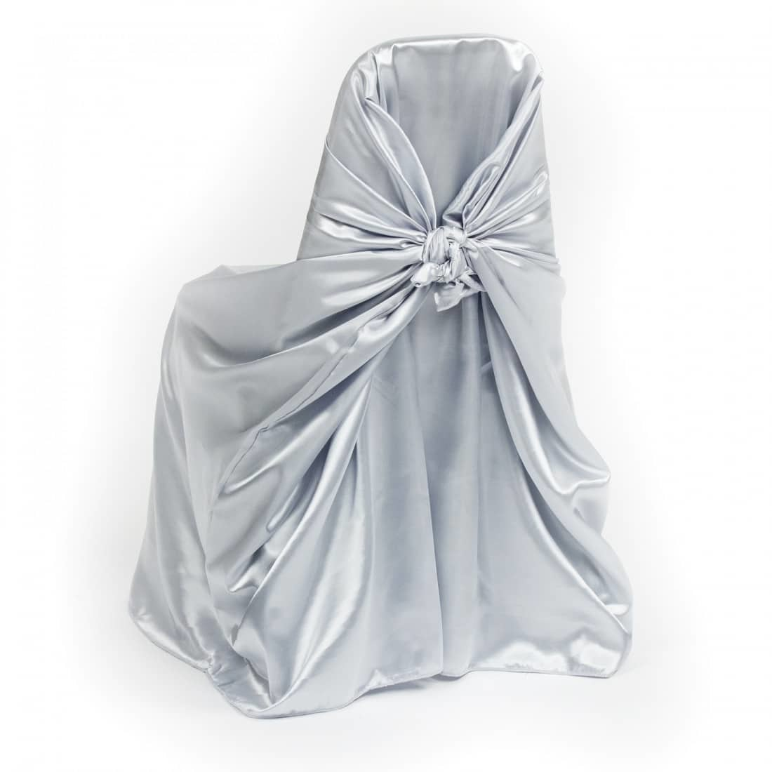 Grey Satin Folding Chair Cover - Luxe Event Rental