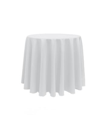 90u2033 Round White Tablecloth
