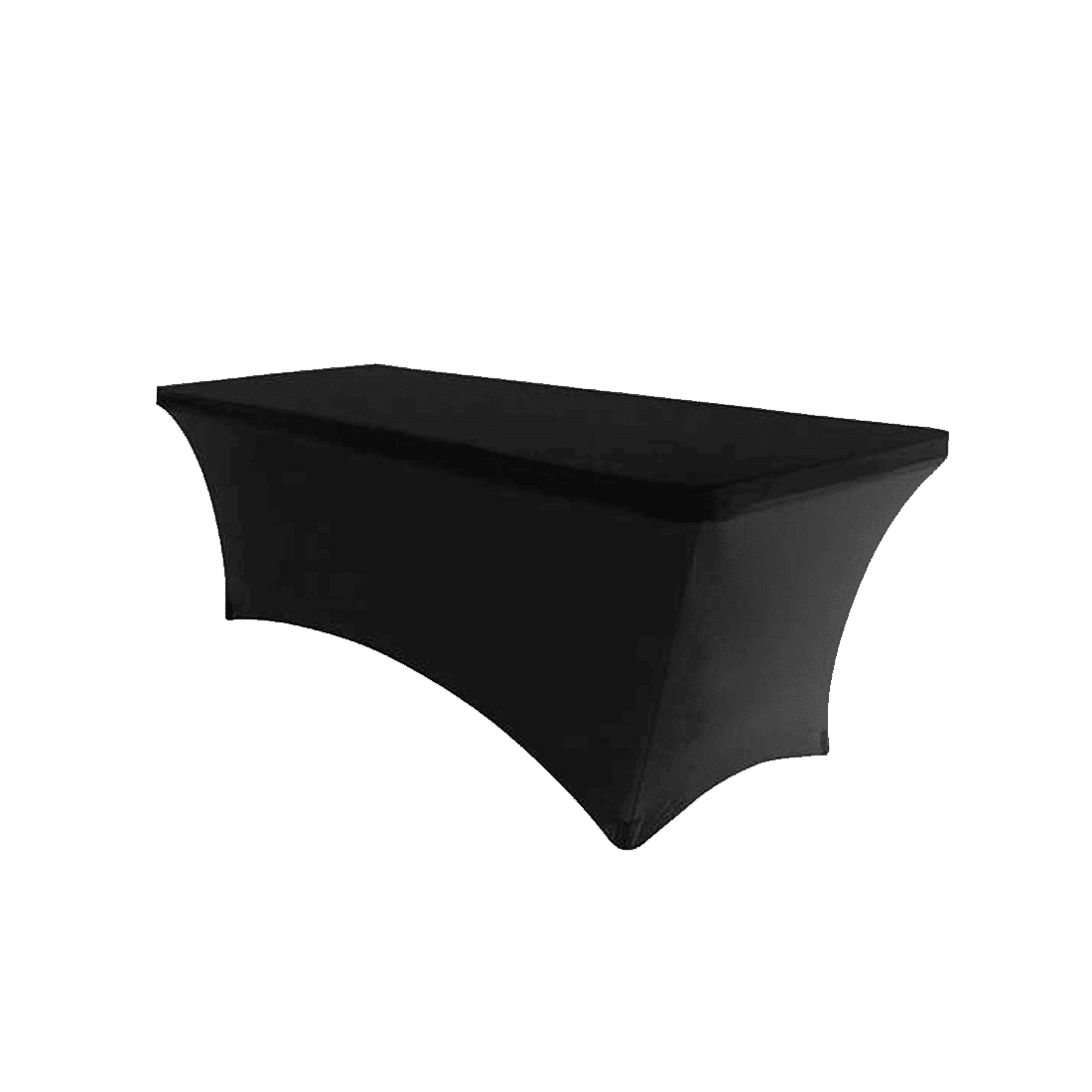 6 Ft Spandex Black Tablecloth Luxe Event Rental